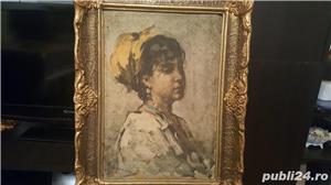 Tablou pe pinză in ulei  de Grigorescu  Fata cu basma galbenă - imagine 1