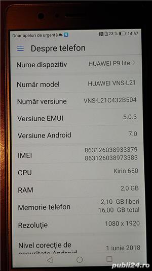Huawei P9 lite gold, impecabil, cu toate accesoriile - imagine 2