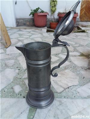 Halbă de bere ceramică cu capac metalic 25 cm - imagine 3
