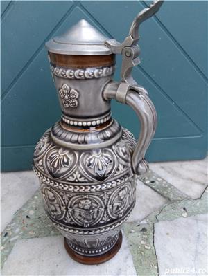 Halbă de bere ceramică cu capac metalic 25 cm - imagine 1