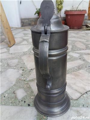 Halbă de bere ceramică cu capac metalic 25 cm - imagine 5