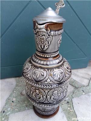 Halbă de bere ceramică cu capac metalic 25 cm - imagine 2