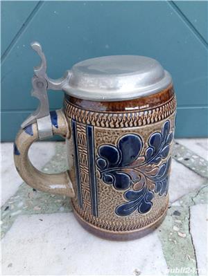 Halbă de bere ceramică cu capac metalic 25 cm - imagine 6