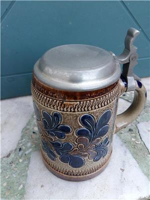 Halbă de bere ceramică cu capac metalic 25 cm - imagine 7