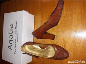 Pantofi piele naturala,noi - imagine 3
