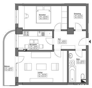 Apartamente cu 2 camere decomandate 64.34mp, finisaje premium - imagine 14