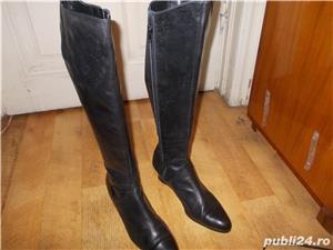 cizme negre de piele 38 - imagine 2
