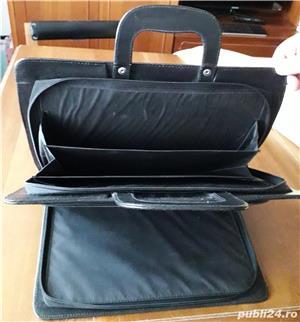 geanta/servieta Bond neagra, din piele - imagine 3