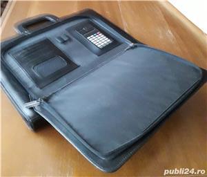 geanta/servieta Bond neagra, din piele - imagine 2