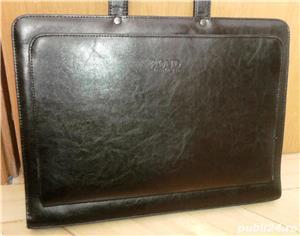 geanta/servieta Bond neagra, din piele - imagine 5