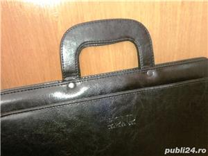 geanta/servieta Bond neagra, din piele - imagine 4