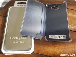 Husa Originala CLEAR View activa pt Samsung Galaxy A5 2016 Noua,Gold,Blue - imagine 2