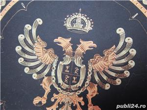 cadou inedit-Vintage plate Toledo Gold on Steel- Acvila Imperiala Bicefala  - imagine 4