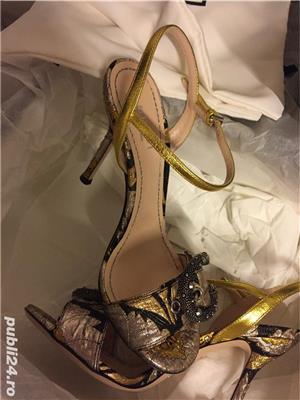 Sandale dama Gucci sandy fllurjacq gold silk,produs original. - imagine 2