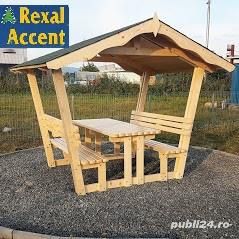 Foisor din lemn cu masa si scaune (bancute) model REXAL - imagine 2