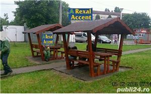 Foisor din lemn cu masa si scaune (bancute) model REXAL - imagine 3