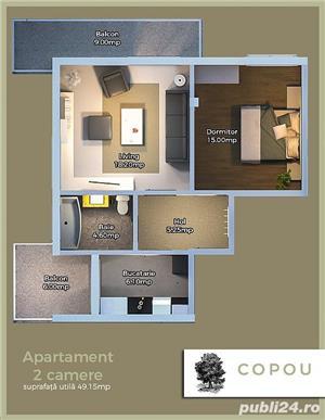Apartament 2 camere Copou Mihai Sadoveanu  Suprafata utila 49.15 mp  + 2 balcoane ( 15MEUR - imagine 2