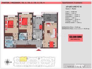 Apartament 3 camere, 78mp, Zona Decebal, Finalizat - imagine 3
