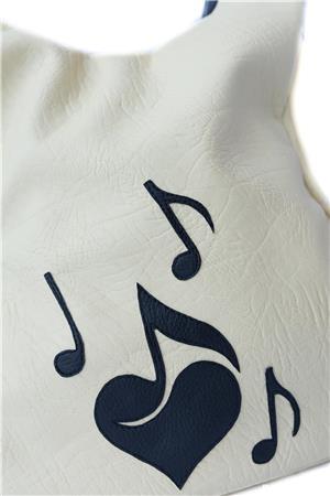Geanta Ivory decorata cu note muzicale - imagine 4