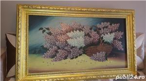 Tablou - Pictură în ulei pe pânză - Coș cu liliac - imagine 5