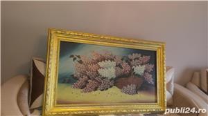 Tablou - Pictură în ulei pe pânză - Coș cu liliac - imagine 3