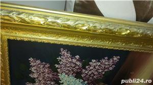 Tablou - Pictură în ulei pe pânză - Coș cu liliac - imagine 2