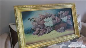Tablou - Pictură în ulei pe pânză - Coș cu liliac - imagine 4