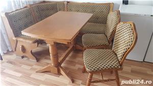 Colțar  bucătărie cu masa  extensibila și 2 scaune din masiv, stejar.  - imagine 1