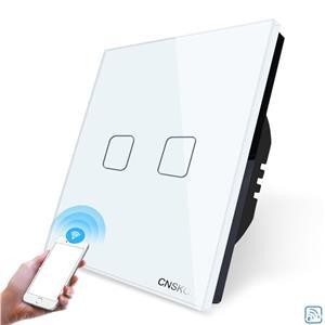 Intrerupator dublu WiFi cu touch CNSKOU, panou tactil de sticla cristal - imagine 1