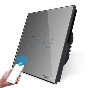 Intrerupator dublu WiFi cu touch CNSKOU, panou tactil de sticla cristal - imagine 2