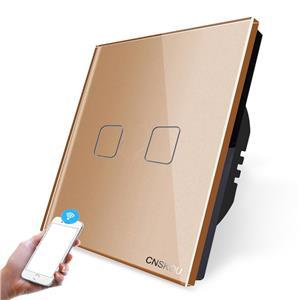 Intrerupator dublu WiFi cu touch CNSKOU, panou tactil de sticla cristal - imagine 3