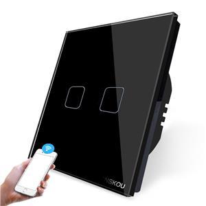 Intrerupator dublu WiFi cu touch CNSKOU, panou tactil de sticla cristal - imagine 4