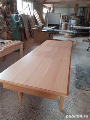 Masă extensibilă din lemn de stejar masiv - imagine 6