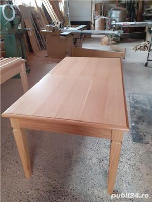 Masă extensibilă din lemn de stejar masiv - imagine 5