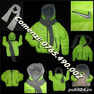Geaca scurta dama matlasata fas impermeabil verde neon gluga fular gri detasabil fermoar iarna - imagine 2