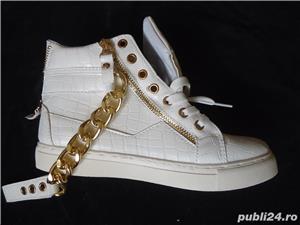 Sneakers dama botine albe piele eco ghete sport casual accesorii aurii - imagine 4