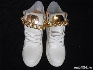 Sneakers dama botine albe piele eco ghete sport casual accesorii aurii - imagine 3