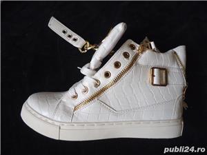 Sneakers dama botine albe piele eco ghete sport casual accesorii aurii - imagine 5