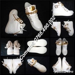 Sneakers dama botine albe piele eco ghete sport casual accesorii aurii - imagine 2