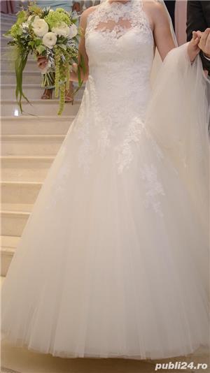 Rochie de mireasa Pronovias, model Drisara (voal inclus) - imagine 1
