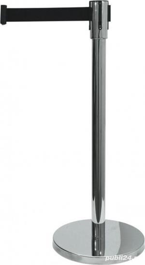 Delimitator Ecoflex din Inox, H = 90 CM - centura neagra 200 cm  - imagine 1