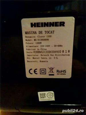 Masina de tocat carne Heinner 1300 W, accesoriu carnati, cutit inox, 2 site - imagine 8