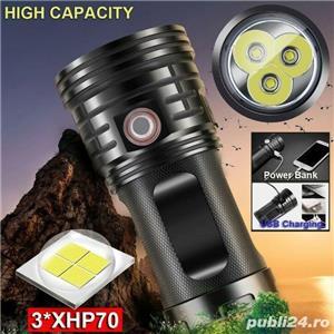 Lanternă cu LED 3xXHP70 USB reîncărcabilă impermeabilă - imagine 1