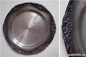 5 piese decorative din zinc decorat, vechi, de colectie - imagine 4