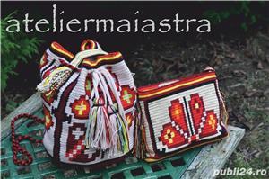 set genti handmade crosetate ornamentate cu motivul popular din Crisana soare fitoform - imagine 1