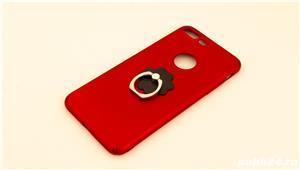 Carcase iPhone 7 Plus Rosu-Auriu cu inel - imagine 1