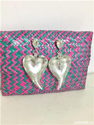 Cercei inima / aripi de inger din sticla UNICAT noi Martisor - imagine 1