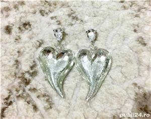 Cercei inima / aripi de inger din sticla UNICAT noi Martisor - imagine 2