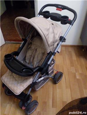 Carucior Baby Care cu maner reversibil - maro(utilizat) - imagine 1
