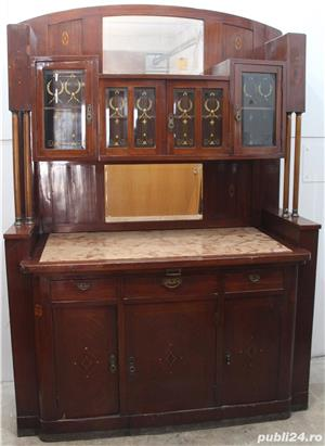 Bufet vintage lemn masiv cu marmura; Biblioteca; Vitrina veche - imagine 1